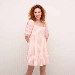 EUGENIA PINK AND WHITE STRIPE MINI TIERED DRESS PINK