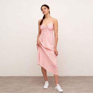 LOLA CORAL AND WHITE ANIMAL MAXI DRESS PINK