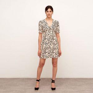 ALEXA NEUTRAL LEOPARD MINI DRESS CAMEL