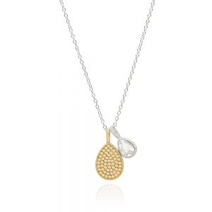 HAMMERED REVERSABLE DOUBLE DROP NECKLACE - MULTI