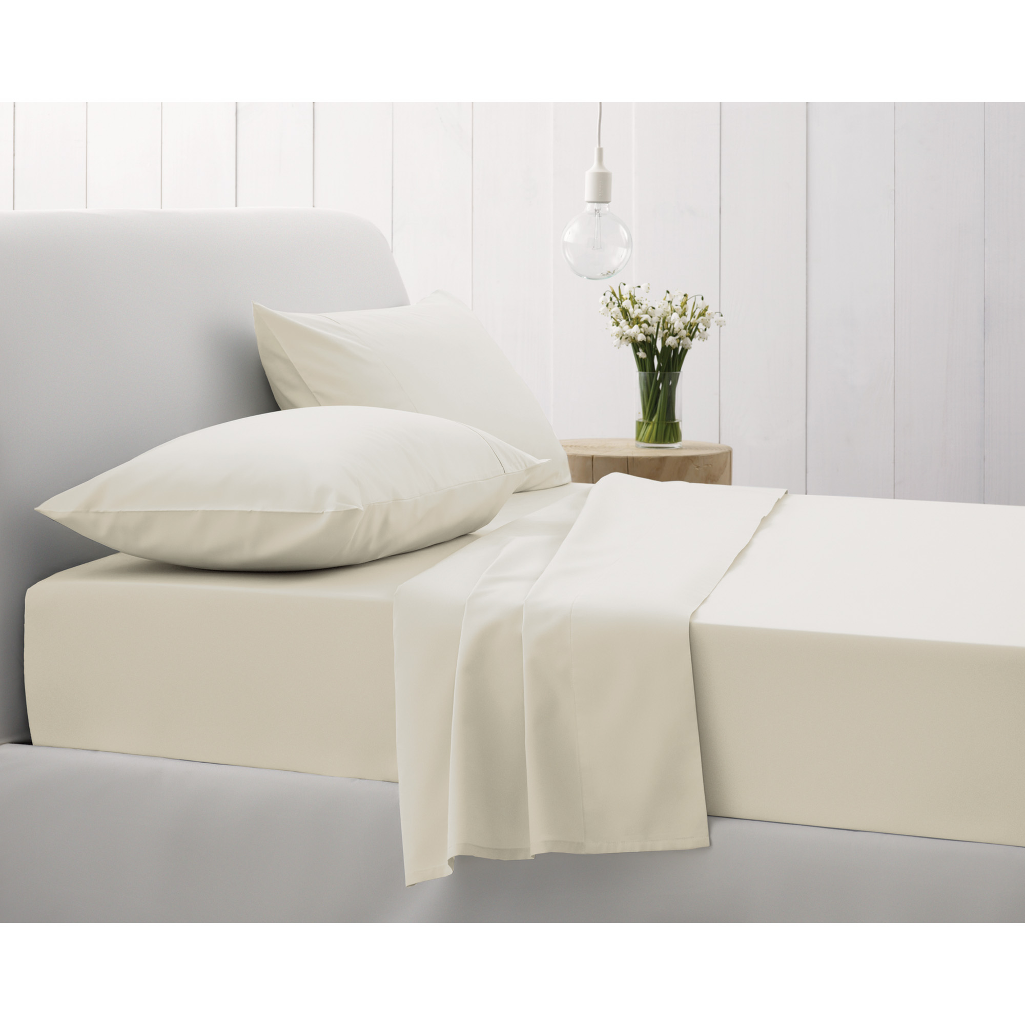 500TC FITTED SHEET KING CHALK