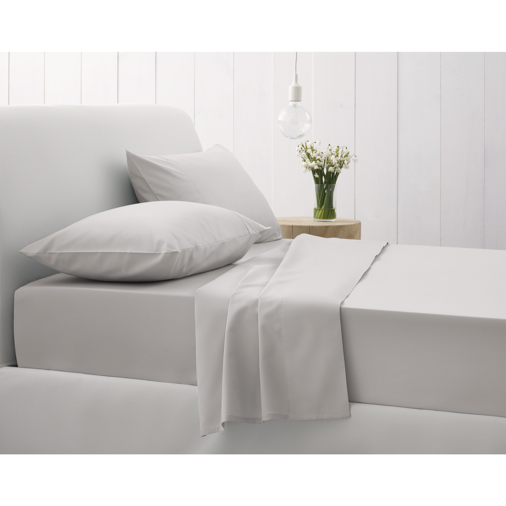 500TC FITTED SHEET SUPERKING SILVER