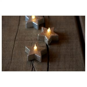 Battery Light 6 Piece Set Champange Glitter Stars